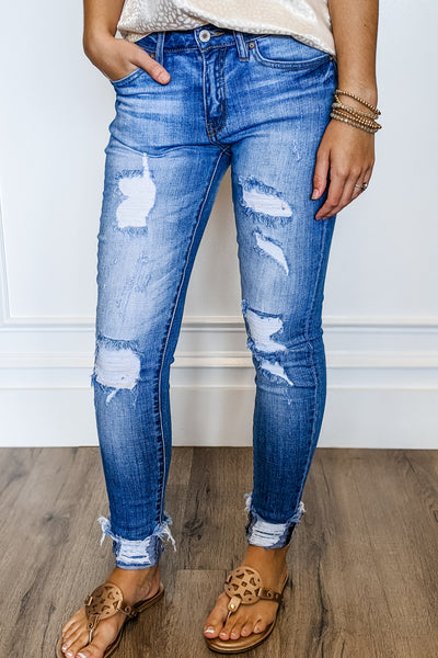 KanCan: Holly Minna Mid Rise Skinny Jeans - Medium Wash