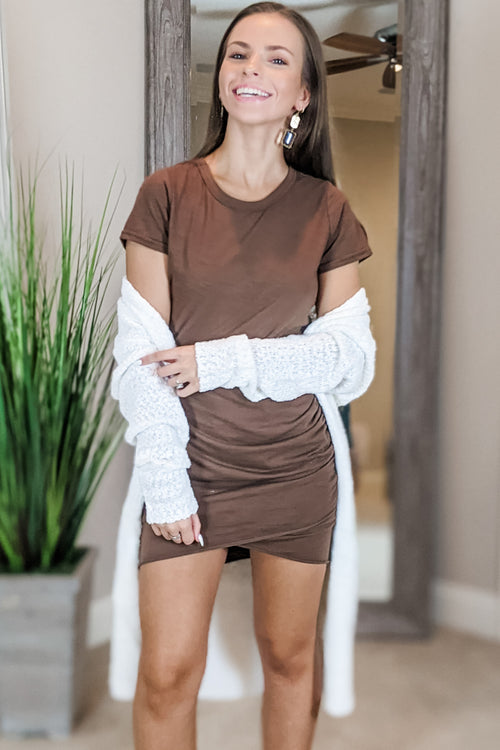 Keep it Easy Short Sleeve Dress - Mocha