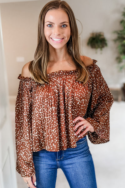 Keep You Guessing Spot Print Off Shoulder Top - Brown