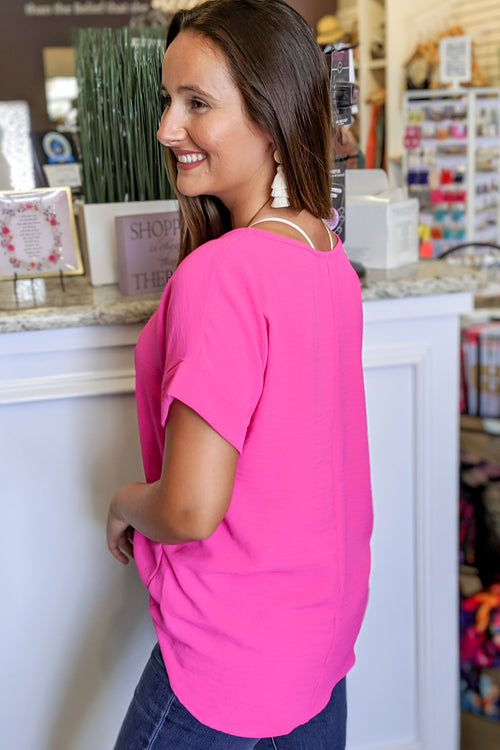 Keep it Chic Scoop Neck Top - Hot Pink