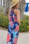 Keep it Colorful Tie Dye Maxi - Coral/Navy