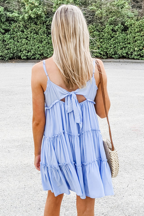 Kiss Me Softly Tiered Ruffle Dress - Blue