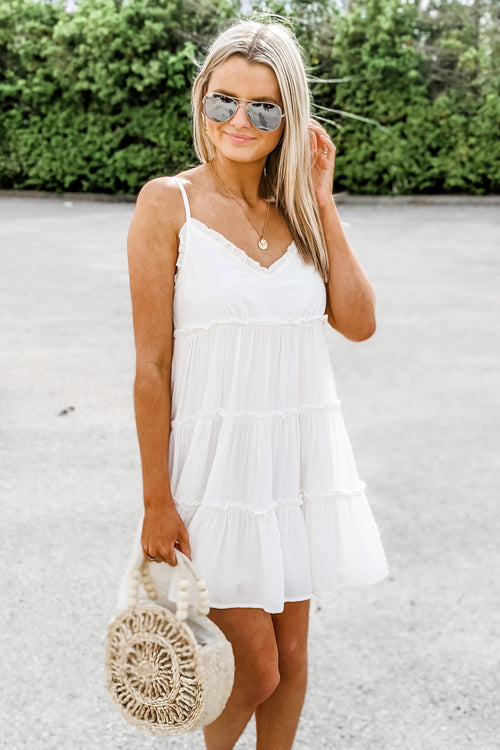 Kiss Me Softly Tiered Ruffle Dress - Off White