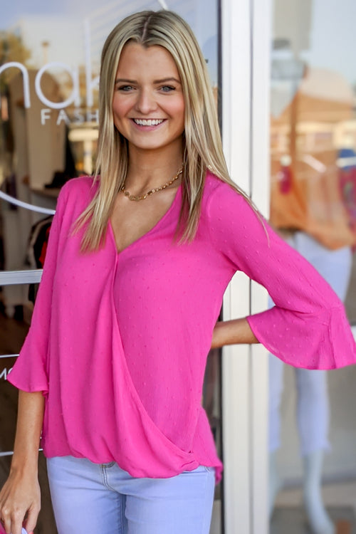 Know You Better Swiss Dot V-Neck Top - Hot Pink
