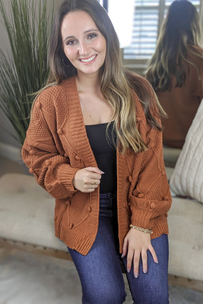 Know It To Be True Pom Pom Cardigan - Copper