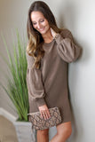 Know the Truth Balloon Sleeve Dress - Mocha