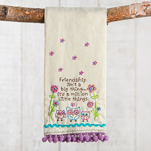 Friendship Owls Linen Hand Towel