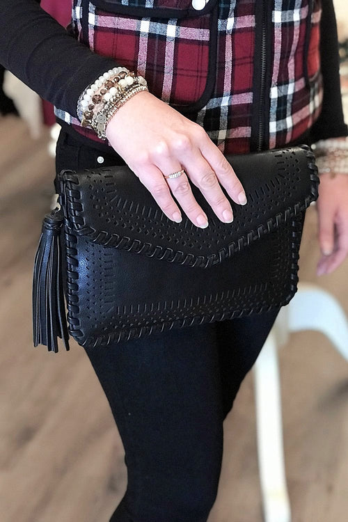 Laser Cut Envelope Clutch - Black