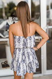 Leading the Way Snakeskin Print Strapless Romper - Gray