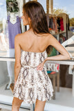 Leading the Way Snakeskin Print Strapless Romper - Lt. Mocha