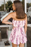 Leading the Way Snakeskin Print Strapless Romper - Pink