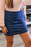 Leah Denim Mini Skirt - Medium