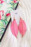 Leather Feather & Bar Earrings - Pink