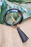 Leather Tassel Key Ring Bracelet - Black