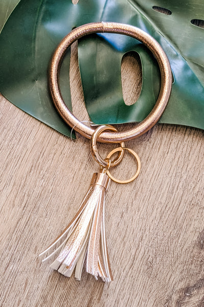 Leather Tassel Key Ring Bracelet - Rose Gold