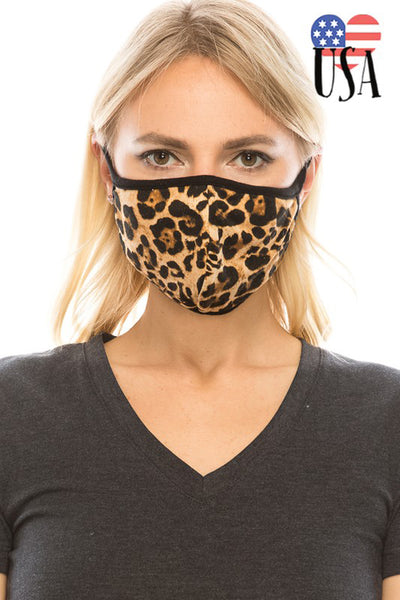 Leopard Print Fashion Face Mask - Brown