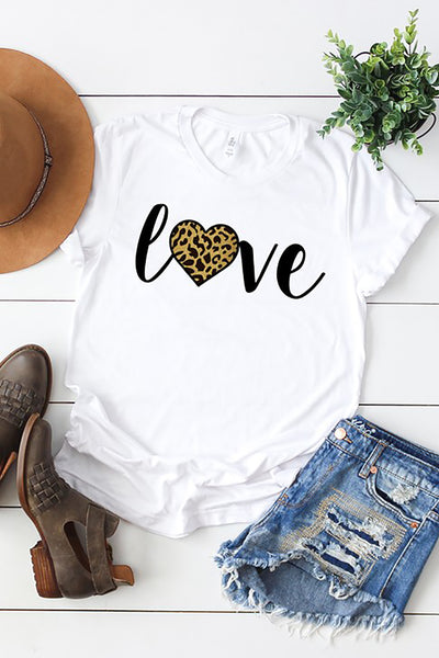 "Leopard ""Love"" Graphic Tee - White"