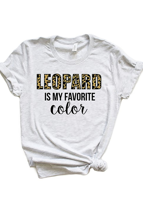 """Leopard is My Favorite Color"" Graphic Tee - Ash Gray"