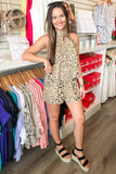 Less is Roar Cheetah Print Romper - Taupe