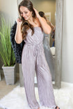 Let Your Light Shine Strapless Jumpsuit - Misty Mauve