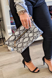 Lexi Snake Print Clutch/Crossbody Bag - White