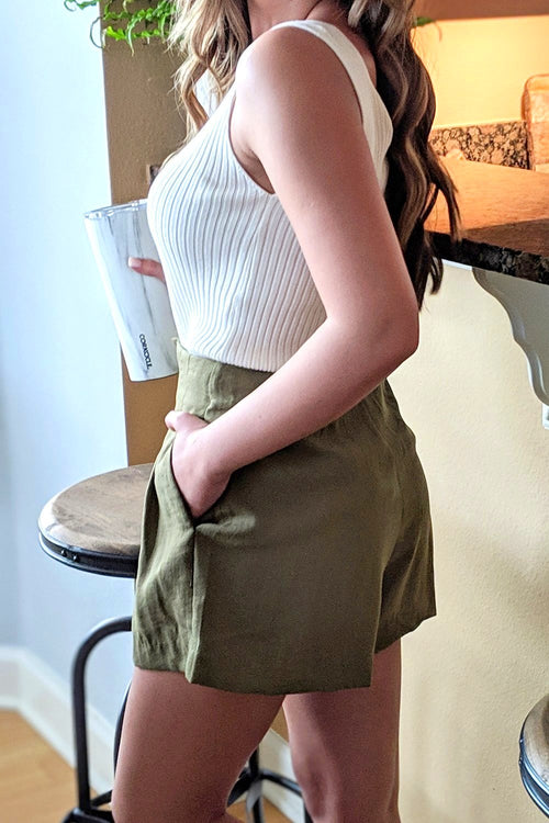 Lisa Pleated High Rise Shorts - Olive