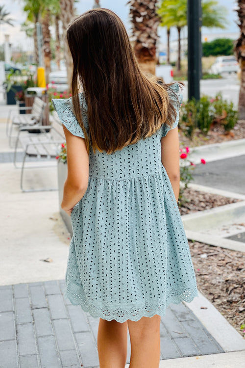 Listen to Your Heart Eyelet V-Neck Dress - Seafoam