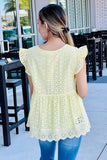 Listen to Your Heart Perforated V-Neck Top - Lemon