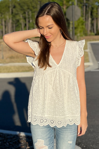 Listen to Your Heart Perforated V-Neck Top - Off White
