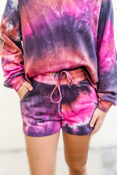 Live Your Dreams Tie-Dye Lounge Shorts - Charcoal Combo