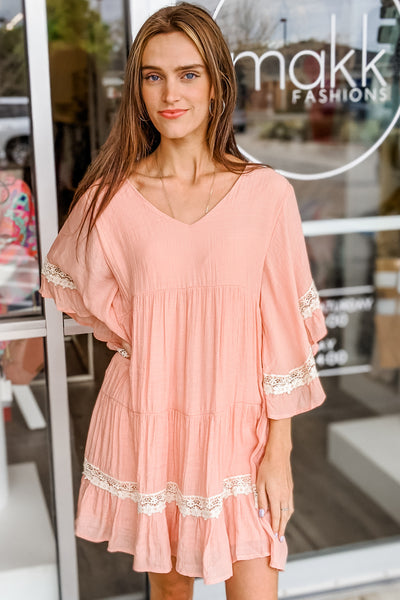 Live with Kindness Ruffle Tiered Dress - Blush