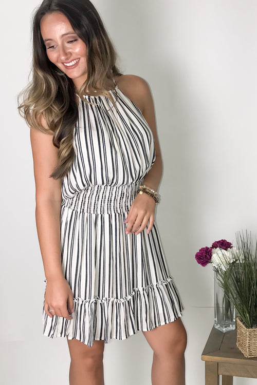 Longing for Love Striped Dress - Black