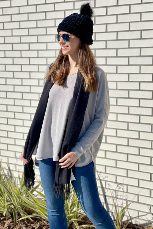 Looks so Easy V-Neck Drop Shoulder Sweater - Gray
