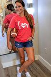 Love Football Graphic Tee - Heather Red
