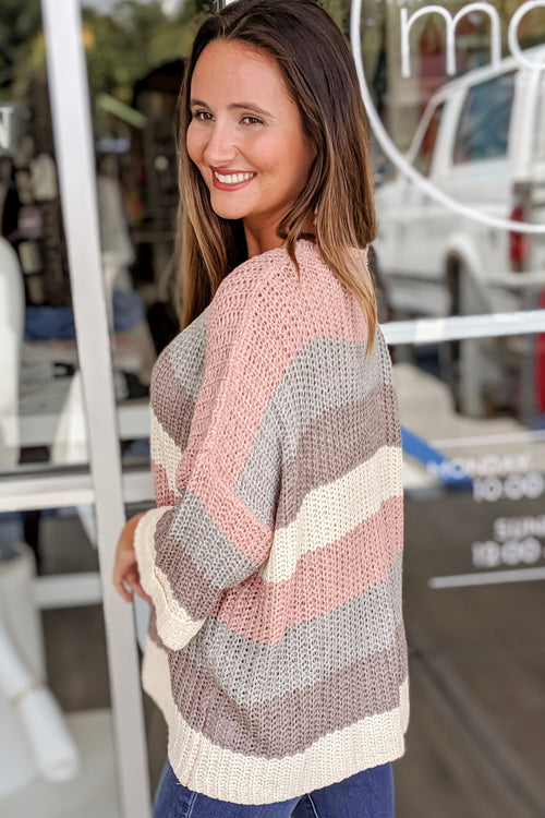 Love You Always Color Block Sweater - Rose/Mocha