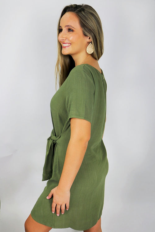 Love of Fall Linen Dress - Olive