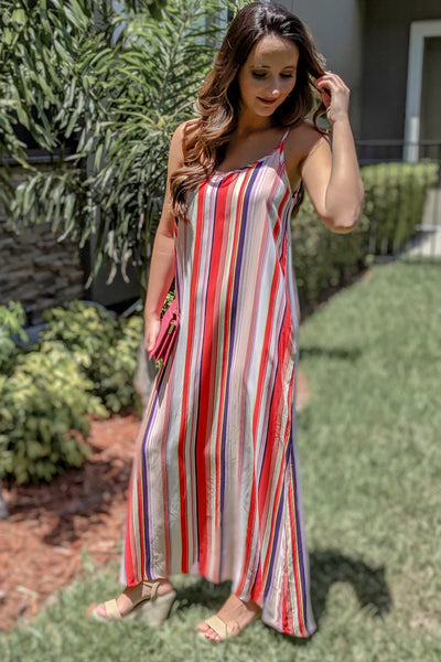 Love so Colorful Striped Maxi - Red/White
