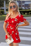 Love so Simple Floral Print Romper - Red