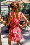 Lovingly Sweet Square Neck Printed Dress - Red/Cream