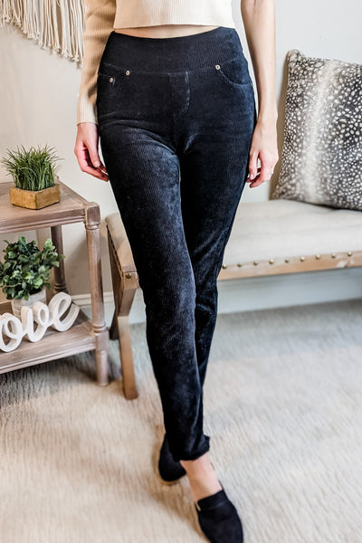 Macy Corduroy Knit Leggings - Black