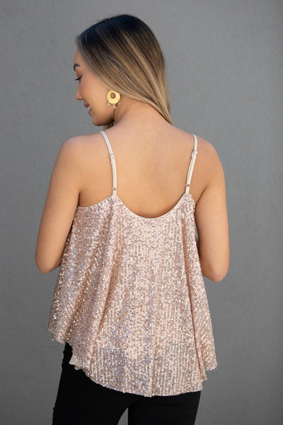 Magic in the Air Sequin Cami Top - Rose Gold