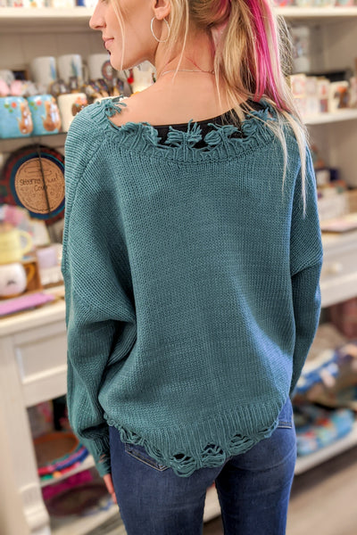 Make My Day Distressed Knit Sweater - Cactus Green