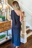 Make a Statement One-Shoulder Maxi Dress - Black