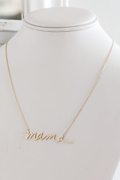 """Mama"" Brass Pendant Necklace - Brushed Gold"
