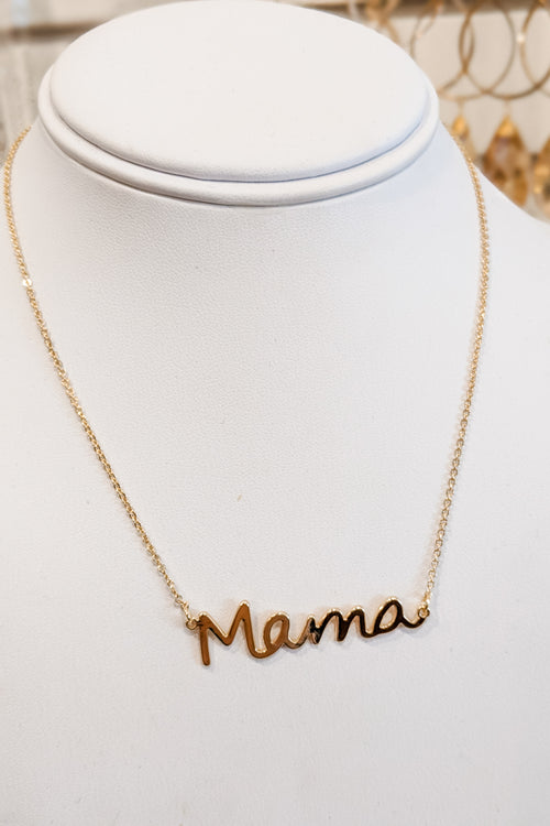 """Mama"" Cursive Pendant Necklace - Gold"