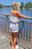 Meet at Sunrise Striped Romper - Blue/Peach