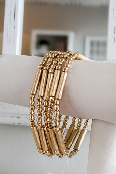 Metal Bead & Bar Bracelet Set - Gold