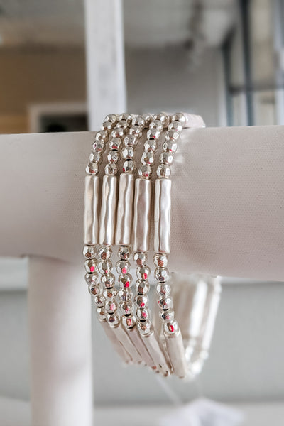 Metal Bead & Bar Bracelet Set - Silver