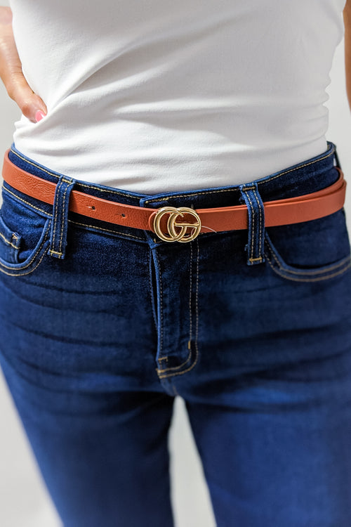 Metal Ring Buckle Skinny Belt - Brown