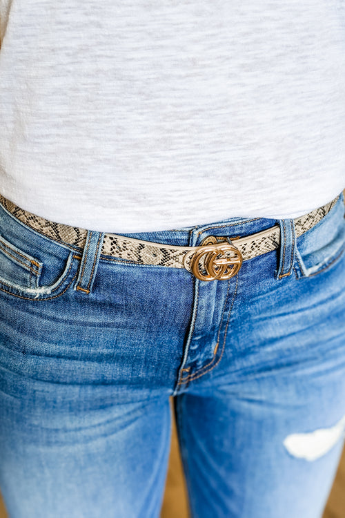 Metal Ring Buckle Skinny Belt - Tan Snake